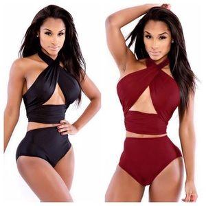 Other - High Waist Crossover Bandage Wrap Bikini Red/Black